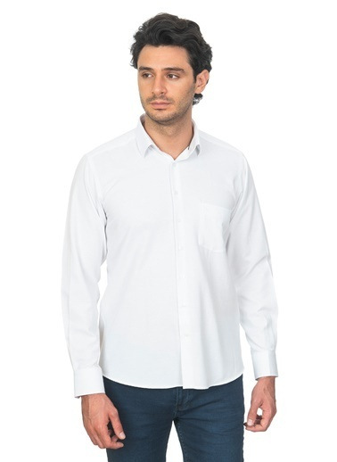 White Stone Pamuklu Klasik Kesim Uzun Kol Gömlek Desenli Renkli